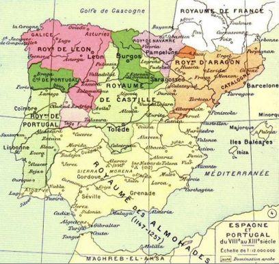 carte espagne 1450